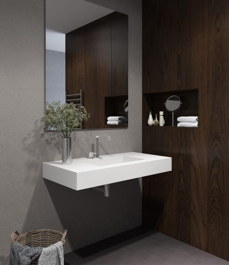 corian waschtisch mit becken pure rechts w hlbar in verschiedenen gr en henneke shop. Black Bedroom Furniture Sets. Home Design Ideas