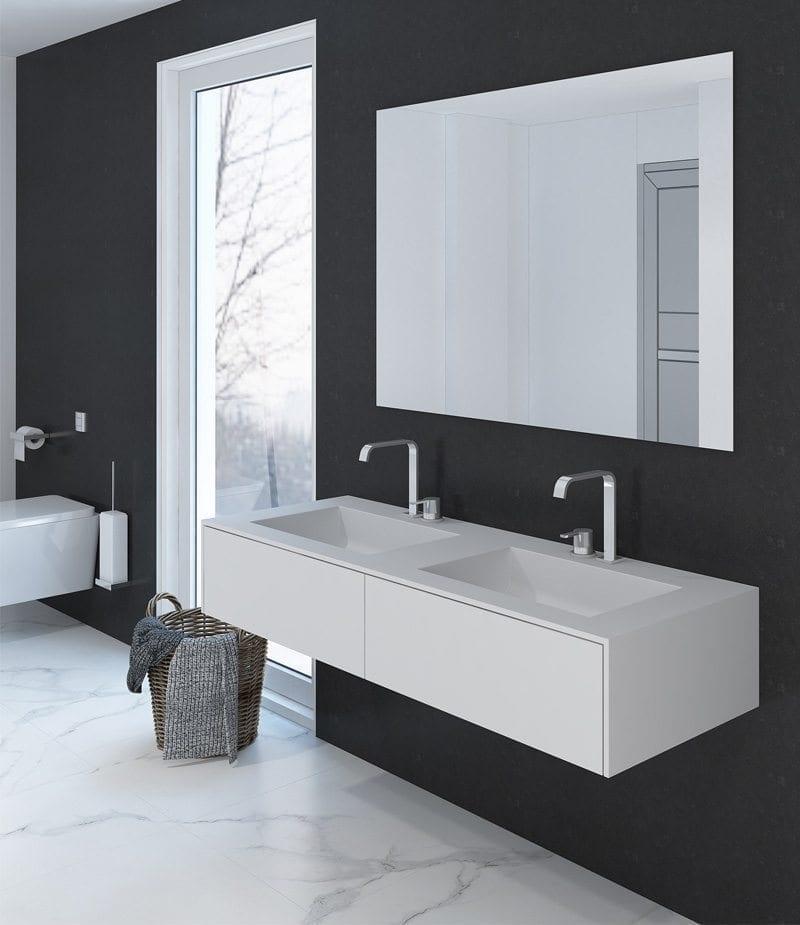 corian doppelwaschtisch pure plus 140cm mit zwei. Black Bedroom Furniture Sets. Home Design Ideas